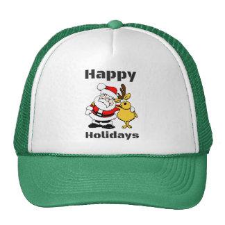 Happy Holidays Santa Claus Reindeer Hug Hat