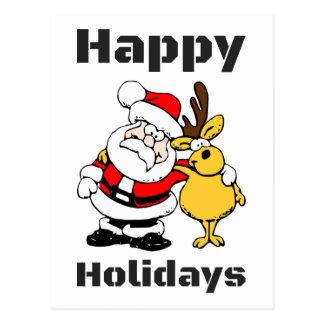 Happy Holidays Santa Claus Reindeer Hug Postcard