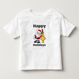 Happy Holidays Santa Claus Reindeer Hug Toddler T-Shirt
