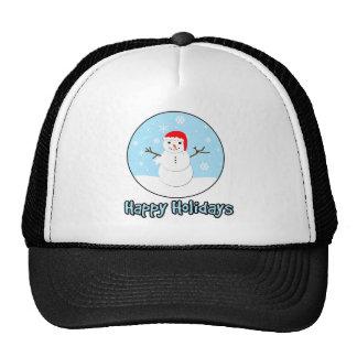 Happy Holidays Santa Snowman Cap