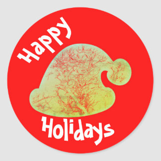 Happy Holidays Santa stickers, red and green round Round Sticker