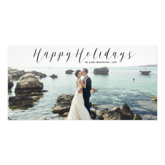 Happy Holidays Script Calligraphy Christmas Photo Card