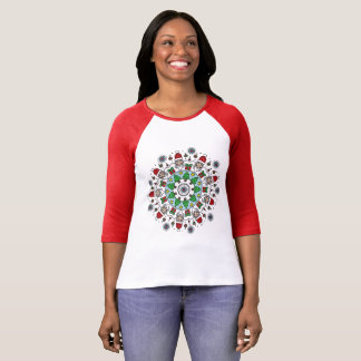 Happy Holidays Shirts: Santa 3/4 Red T-Shirt