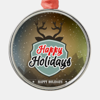 Happy Holidays Silver-Colored Round Decoration
