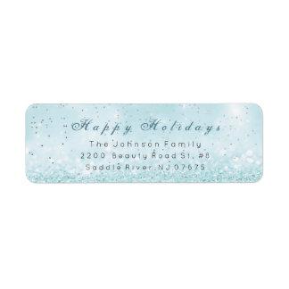 Happy Holidays Silver Confetti Blue Pastel Glitter Return Address Label