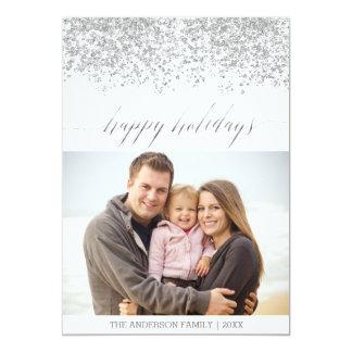 Happy Holidays silver glitter Christmas Card 13 Cm X 18 Cm Invitation Card
