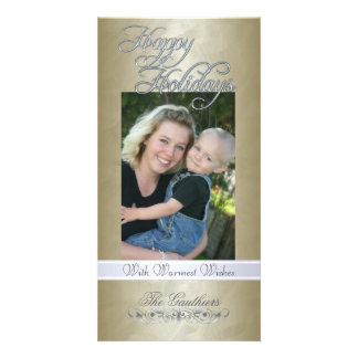 Happy Holidays Silver Ribbon Gold Foil Photo Card