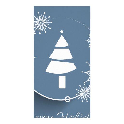 Happy Holidays Silver Tree Greeting Customized Photo Card