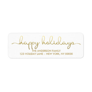 Happy Holidays Simple Gold Hand Lettered Label Return Address Label