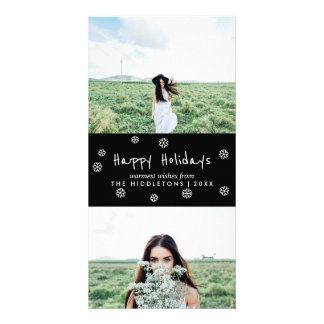 Happy Holidays Simple White Script Holiday Photo Card