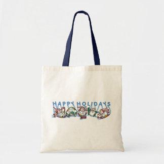 Happy Holidays Skiing Snowmen Budget Tote Bag