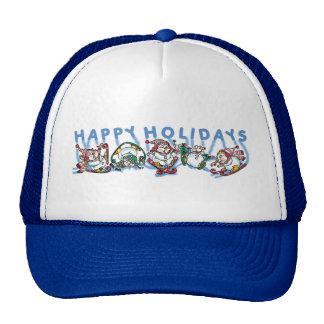 Happy Holidays Skiing Snowmen Cap