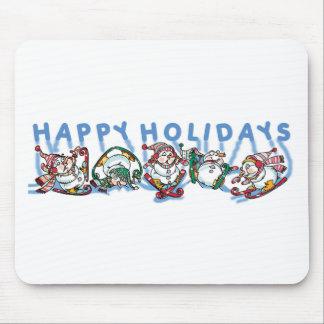 Happy Holidays Skiing Snowmen Mouse Pad