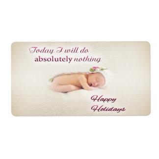 Happy Holidays Sleeping Baby Shipping Label