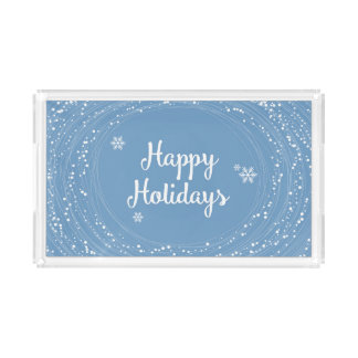 Happy Holidays Snow Dots, Blue and White, Elegant