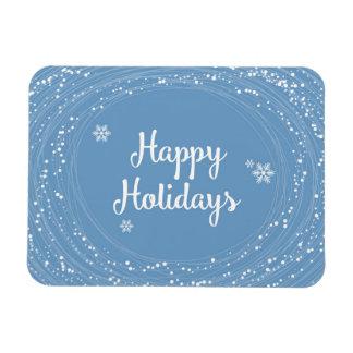 Happy Holidays Snow Dots, Blue and White, Elegant Rectangular Photo Magnet
