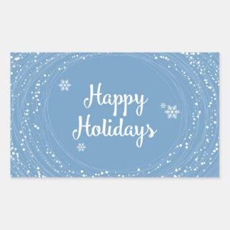 Happy Holidays Snow Dots, Blue and White, Elegant Rectangular Sticker