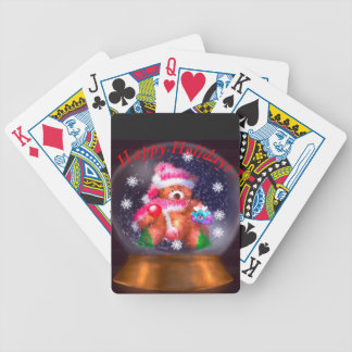 Happy Holidays Snow Globe Bicycle Playing Cards