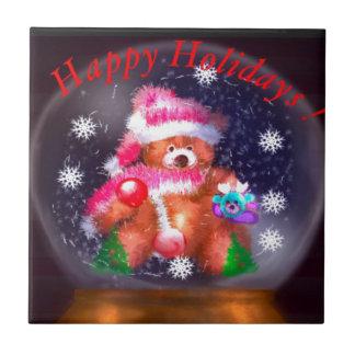 Happy Holidays Snow Globe Ceramic Tile