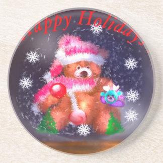 Happy Holidays Snow Globe Coaster