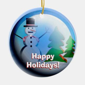 Happy Holidays Snow Globe Ornament