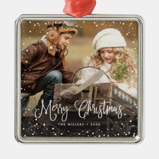 Happy Holidays Snow Photo Ornament