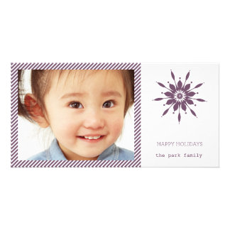 Happy Holidays Snowflake Card Custom Photo Card