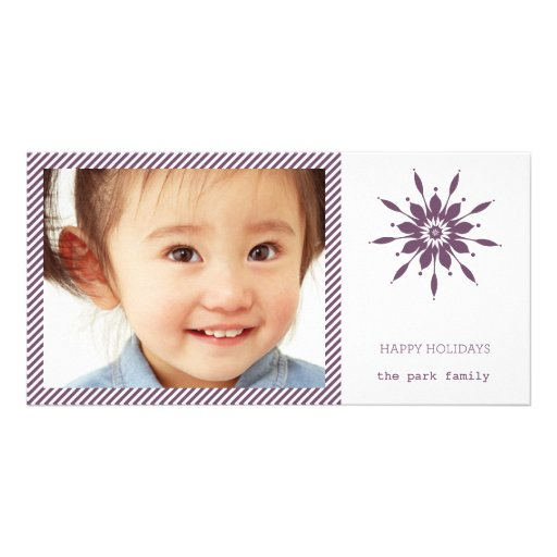 Happy Holidays Snowflake Card Personalized Photo Card