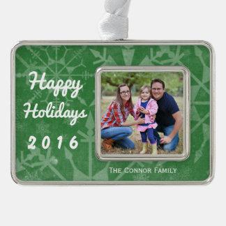 Happy Holidays Snowflake Photo Keepsake Silver Plated Framed Ornament