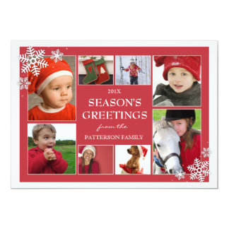 Happy Holidays Snowflakes 8 Photo Greeting Card 13 Cm X 18 Cm Invitation Card