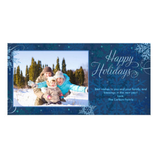 Happy Holidays Snowflakes Customised Photo Card