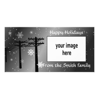 Happy Holidays snowflakes gray tones Photo Greeting Card