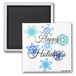 Happy Holidays Snowflakes Pattern Magnet
