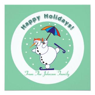 Happy Holidays Snowgirl on Ice Xmas Invitations
