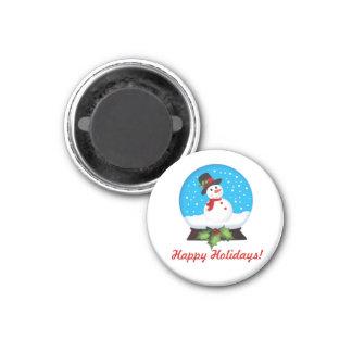 Happy Holidays Snowman 1 3 Cm Round Magnet