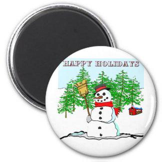 Happy Holidays - Snowman 6 Cm Round Magnet