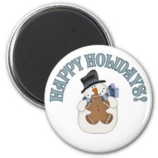 Happy Holidays Snowman 6 Cm Round Magnet