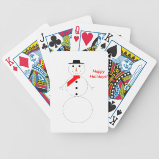 Happy Holidays Snowman Bicycle Playing Cards