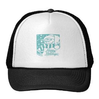 Happy Holidays Snowman - Blue Trucker Hats
