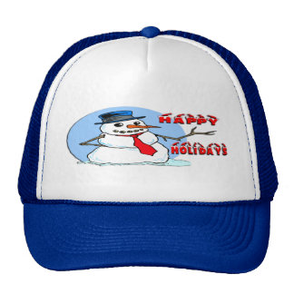 Happy Holidays Snowman Cap