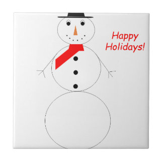 Happy Holidays Snowman Ceramic Tile