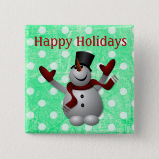 Happy Holidays Snowman Christmas Button