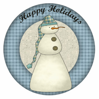 Happy Holidays Snowman Christmas Ornament Cut Out