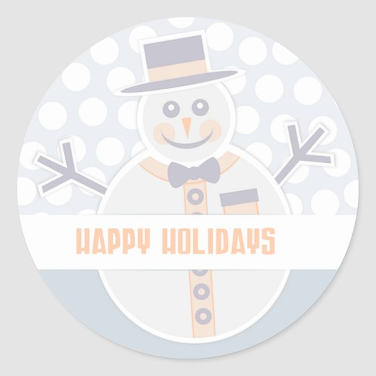 Happy Holidays Snowman Classic Round Sticker
