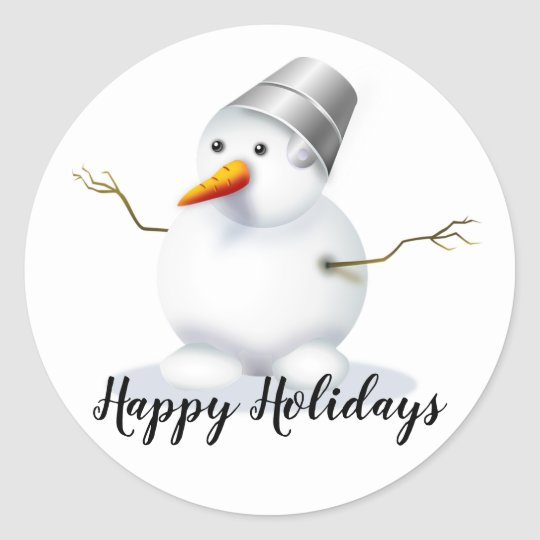 Happy Holidays Snowman Classic Round Sticker