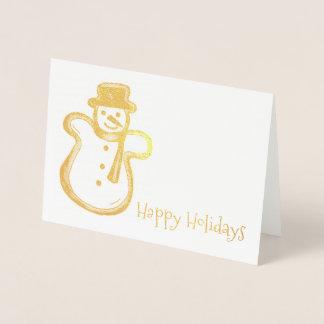 Happy Holidays Snowman Cookie Christmas Hanukkah Foil Card