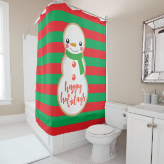 Happy Holidays | Snowman Cookie Shower Curtain