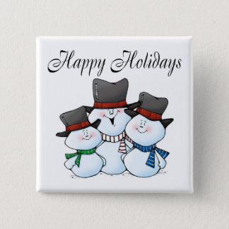 Happy Holidays (Snowman Family) 15 Cm Square Badge