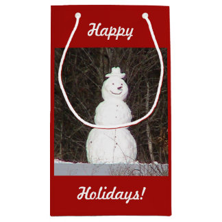 Happy Holidays Snowman Gift Bag