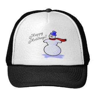 Happy Holidays Snowman Hat